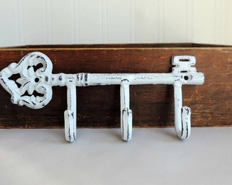 Decorative Key Hook, Vintage Decor, Rustic Home Decor, Rustic Key Holder, Shabby Chic Home Decor, Wrought Iron Hook, Distressed Decor