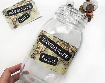 Adventure Fund Sticker, DIY Christmas Gift, Travel Fund Decal, Vacation Fund, Adventure Fund Sticker, Savings Jar, Savings Bank, Travel