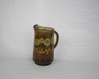 Vintage Brown Glass Daisy Flower Pitcher