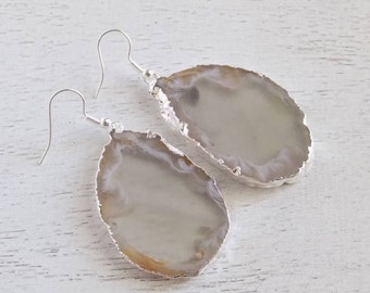 Slice Agate Earrings, Light Gray Agate Earrings, Geode Earrings, Gemstone Earrings, Large Stone Earrings, Raw Stone Earrings, Gift, 8-19