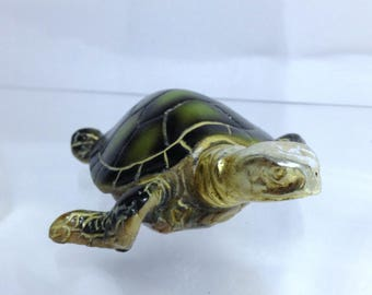 Vintage Turtle Figurine, Tortoise Figure Nautical Theme Decor Green Turtle Gold Trinket Novelty Sea Creature Xmas Gift for Turtle Collector