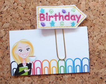 Birthday Planner Clip, Felt Paper Clip, Refrigerator Magnet, Cute Brooch Pin, Planner Accessories, Ribbon Bookmark, The Book Nook Patch, 633
