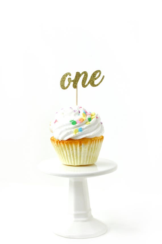 Number One Gold Glitter Cupcake Toppers, Number One Toothpicks, Gold Party Decor, Food Decoration, First Birthday, 1st Birthday, One Decor
