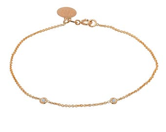 Tousi Jewelers Diamond Bracelet 0.10 ct - Solid 14k Rose Gold - Solitaire Bezel Set -Free Personalized Initials Engraving for Women & Girls