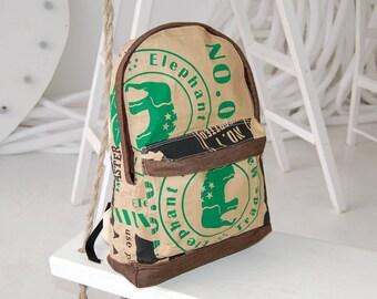 brown backpack purse travel backpack women vegan backpack eco backpack vegan satchel bag elephant backpack paper backpack ooak rucksack