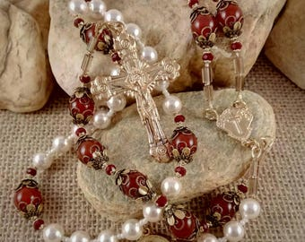 "HOLY FACE CHAPLET Complete Rosary, Swarovski Pearl & Carnelian Gemstone // Handmade Catholic Artisan Devotional // ""Face of the Eucharist"""