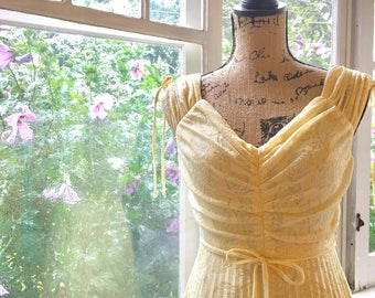 Vintage 1970s Perfect Pale Yellow Gown