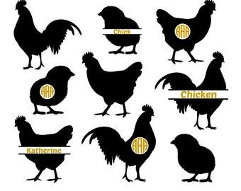 Chicken SVG, Chicken Monogram Svg, Rooster Svg, Hen Svg, Chicken Silhouette, farm svg, Cricut files, silhouette files, svg, dxf, eps, png.