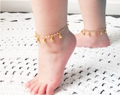 First Birthday Gift, Gold Baby Anklet, Boho Baby, Tribal Baby,  Cake Smash Photo, Dance Costume, Gypsy Baby, Trendy Baby Gift, Toddler Gift