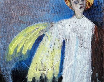 Whimsical art, angel art, original art, oil painting, one of a kind art, angel painting, guardian angel, small painting, angel