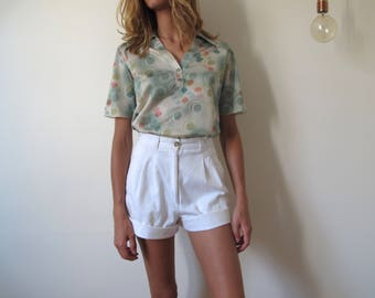 Polo 80s french vintage sporty Création green graphics tie dye buttons oversize // S-M-L Oversize