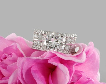 9.5mm Near Colorless Forever One Round Moissanite Solitaire Diamond Engagement Ring in White Gold (avail in rose, yellow gold and platinum)