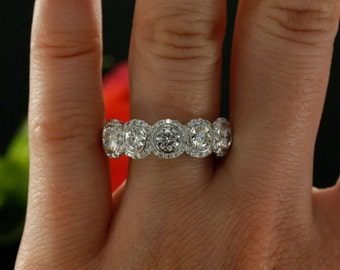 Natural Diamond And Forever Brilliant Moissanite Halo Wedding Band Right Hand Ring Available In