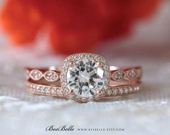1.75 ct.tw Art Deco Bridal Set Ring-Halo Engagement Ring W/ Milgrain All Eternity Wedding Ring-Rose Gold Plated-Sterling Silver [65355RG-2]