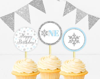 Winter Onederland Cupcake Toppers Blue And Silver Birthday Party Decor Boy Birthday Table Decor Cupcake Toppers Printable DIGITAL DOWNLOAD