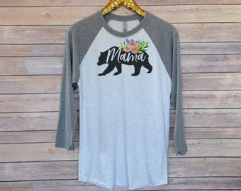Mama Bear Raglan Tee, Raglan Shirt, Mama Bear Shirt, Trendy Shirt, Mom Shirt, Mom Life Shirt, Mama Shirt, Mom To Be Shirt, New Mom Shirt,