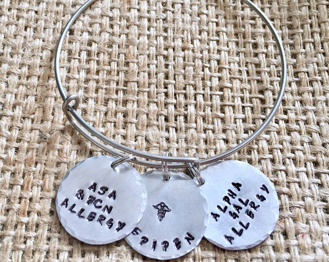 Medical Alert Bangle, Custom Medical Id, Medical ID Bracelet, Stamped ID Bracelet, Allergy Alert Bracelet, Alert Bracelet, Emergency Id