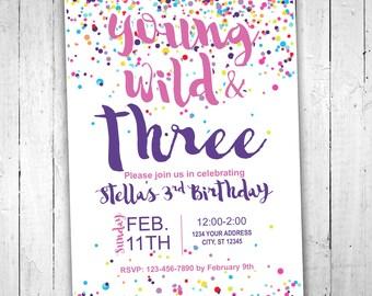 Printable Custom Third Birthday Invitation - Baby Girl