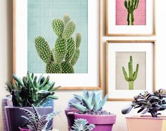 Cactus print, Wall art prints, PRINTABLE art set, Modern art, Minimalist art, Boho decor, Southwestern decor, Gallery wall, Cacti prints