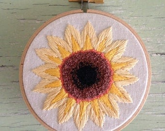 Sunflower Embroidery Hoop Art - Made to Order