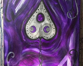 Ouija Board Planchette Painting // Purple Abstract Background