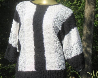 "Margules Black & White ""Knobby"" Knit Striped Sweater,  M"