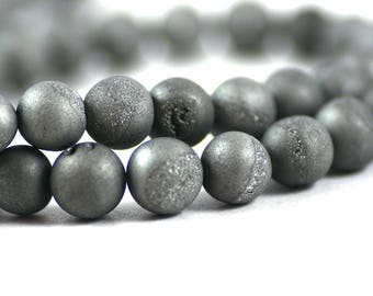 Druzy Agate Geode Quartz Stone Matte Platinum Gray Bead Round 8mm