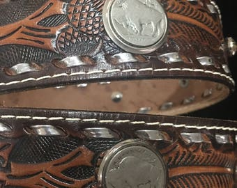 Tooled Leather Belt/Buffalo Head Nickels Belt