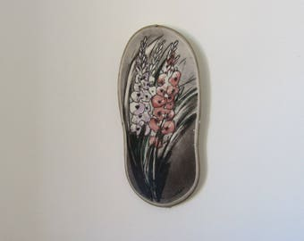 HELJA LIUKKO-SUNDSTROM - Arabia ceramic/porcelain Floral Wall Plaque - Made in Finland - 1980s