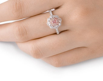 Pink Diamond Ring, Diamond Engagement Ring, 18K white and rose gold, Cushion cut Engagement  Ring