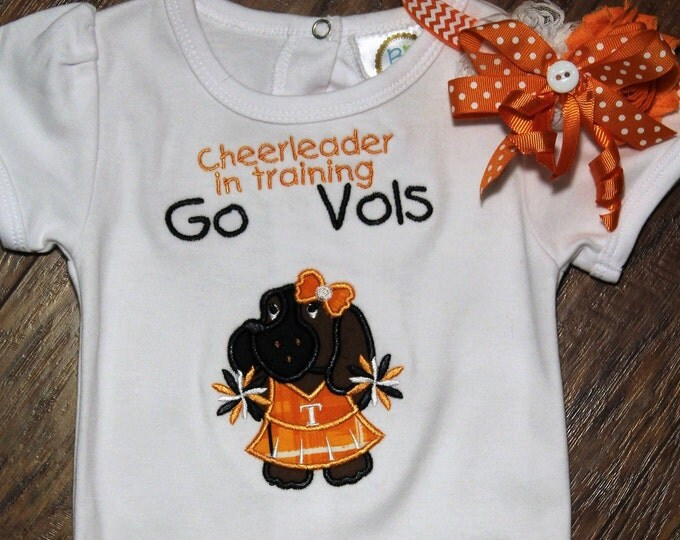 Tennessee babygirl bodysuit, Cheerleader,Volunteer Cheerleader outfit, Tennessee Headband, Orange and white, Baby shower gift, New baby gift