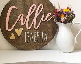 """24"""" Round baby name sign 