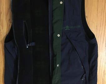 TOMMY HILFIGER Réversible Vest Vintage 1990s Fleece Nylon Plaid Flag Logo RARE