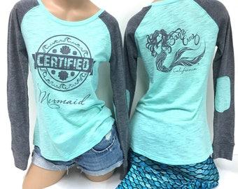 Mermaid Certified Women's Preppy Patch Slub T-Shirt
