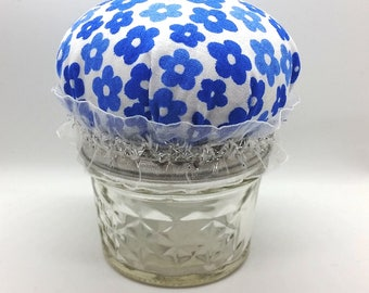 Cute Mason Jar Hijab Pin Cushion - Blue Flowers on White