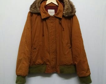 Classic 80s//United Colours Of Benetton//Knox Down Bomber Jacket//Removable Faux Fur Hood//Classic Brown Colour/Very Rare!!!