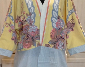 Vintage up-cycled Kimono yellow blue pink white tablecloth large size blue flounce cotton jacket 3 quarter sleeves repurposed tablecloth