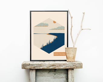 National Park Poster - Sleeping Bear Dunes - Lake House Sign - Travel Poster - Michigan  – Wanderlust - Home Decor - Greatest Adventure