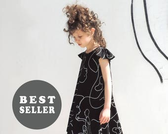 Black And White Girls Dress - Little Girl Dresses - Modern Black Dress  - By PetitWild