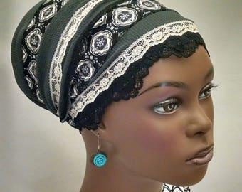 Sophisticated gray dressy sinar tichel, tichels, chemo scarves, hair snoods, head scarves