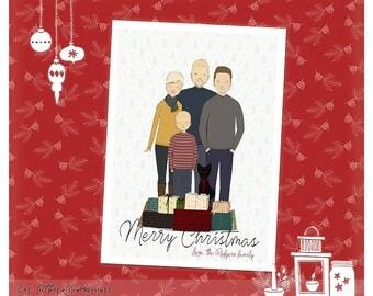 Custom Christmas Card Christmas Family Portrait Bespoke Family Portrait Personalized Family Illustration Christmas Decor Custom Holiday Card