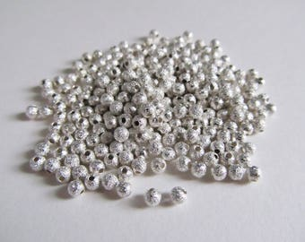 100 stardust beads silver 2mm - small silver beads - jewelry
