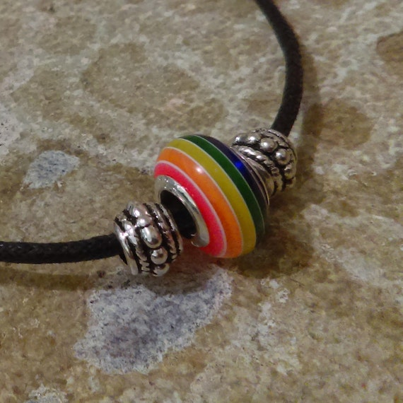 Rainbow Bead Necklace Stainless Chain Black Waxed Cotton Necklace Tibetan Silver Beads Rainbow Pride