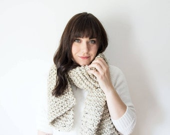 Knit Chunky Scarf The 'RIDEAU' Knitted Straight Wool Cowl in 'Oatmeal' - Oat Beige Cream Scarf