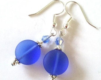 Blue sea glass earrings, blue crystal earrings