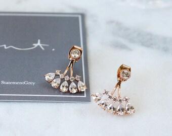 Teardrop Jacket Earrings - Earring Jacket - Ear Jacket - minimal earring climber - wedding earrings - bridesmaids earrings