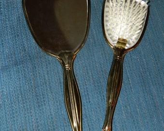 A Vintage Mirror & Brush Vanity Set~A Gold Tone~n~White Victorian Style Mirror~n~Brush Set~Dresser~Dressing Table Decoration~