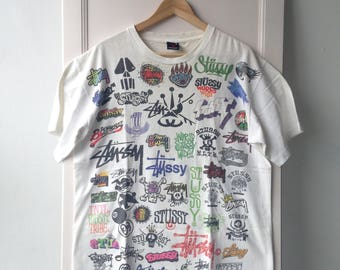 Vintage 1990s Stussy Logos Mix Tee L Made In USA