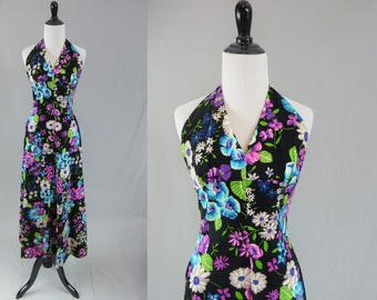 70s Halter Maxi Dress - Black w/ Purple Blue Green Flowers - Floral Print - Vintage 1970s - XXS XS