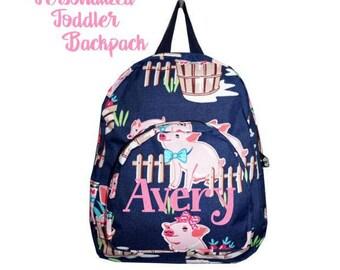 Pink Piggie Toddler Backpack - Personalized school bag